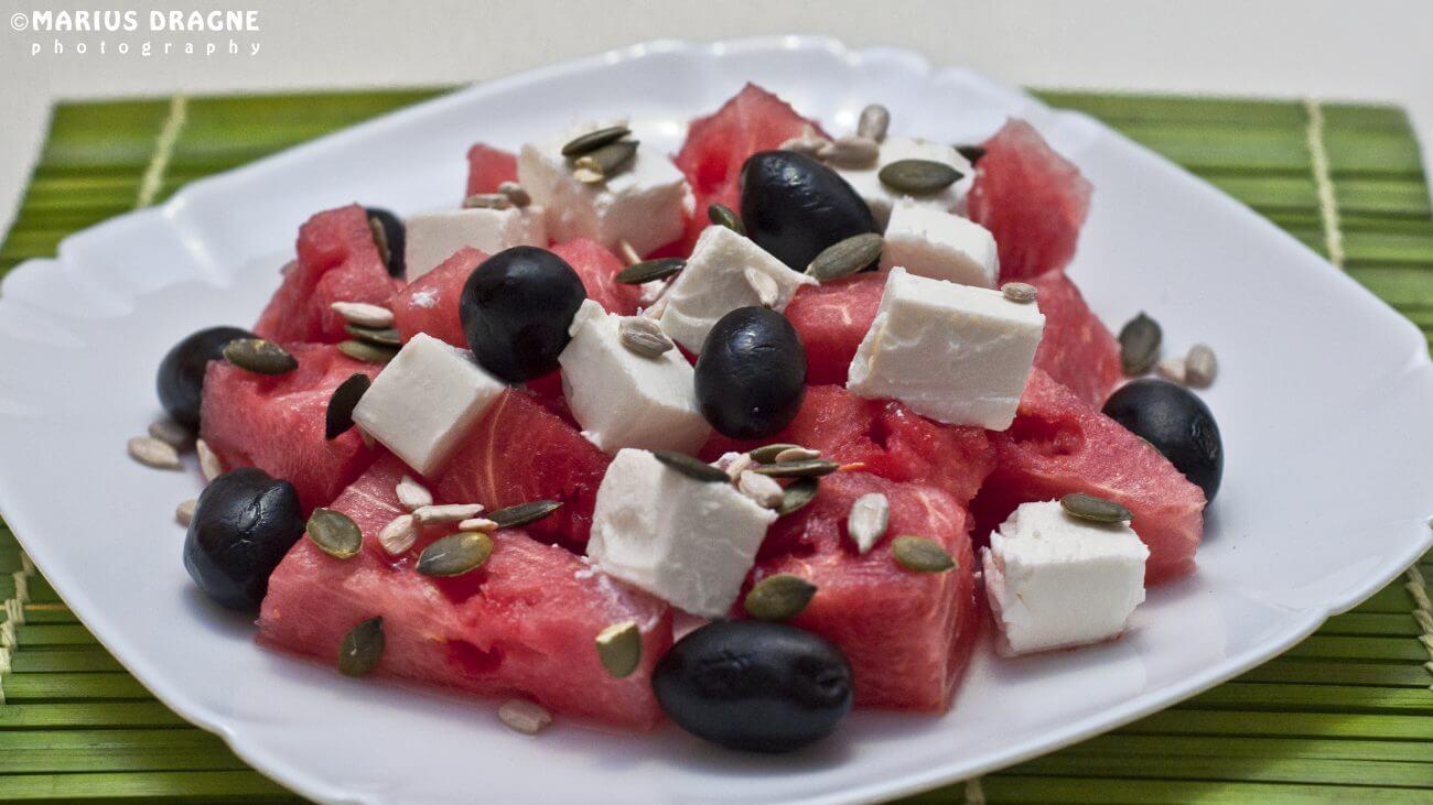 Salata de pepene rosu cu branza feta