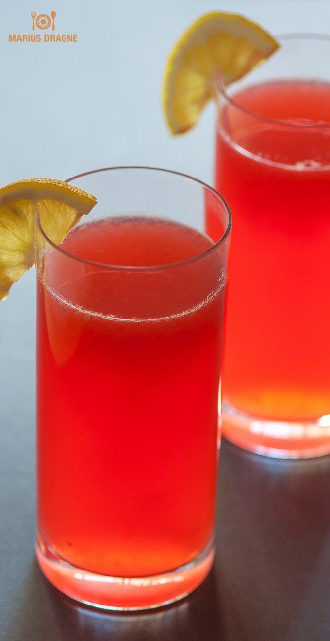 Limonada cu sirop de zmeura si apa de trandafir
