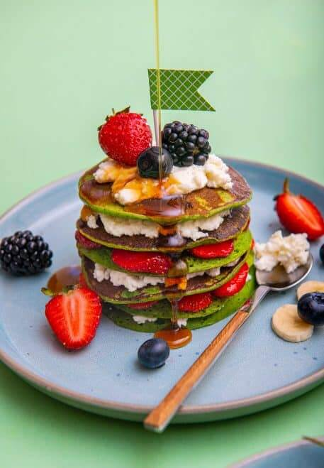 Pancakes verzi cu branza calcica